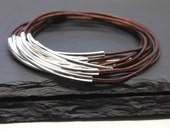 Leather Bangles French Roast Brown Set of 10 Leather Bracelets BEST SELLER Amy Fine Design