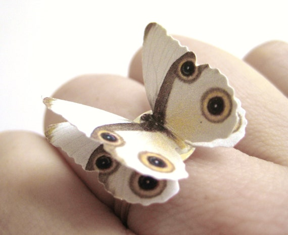 Paper Origami Jewelry - White Bridal Ring - White Butterfly Jewelry - Womens Unique Ring -Womens Nature Ring -1st Paper Anniversary Gift Her