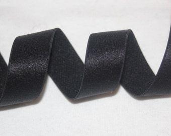 "2 or 10 yards Black Satin Shiny lingerie bra strap stretch sewing elastic 3/4"" wide"