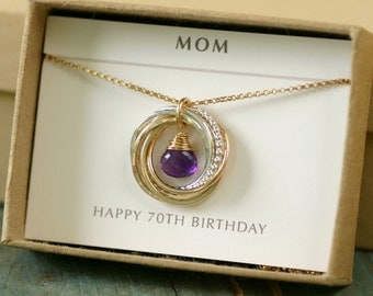70th birthday gift for mother necklace for her, amethyst necklace handmade, February birthstone jewelry for grandma - Lilia