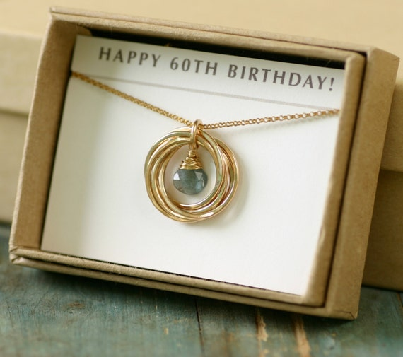 Gorgeous Personalized 60th Birthday Gifts For Her: 60th Birthday Gift For Her Aquamarine Necklace For Mom Gift