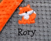 Fox baby blanket personalized small- Charcoal grey and orange fox- lovey blanket