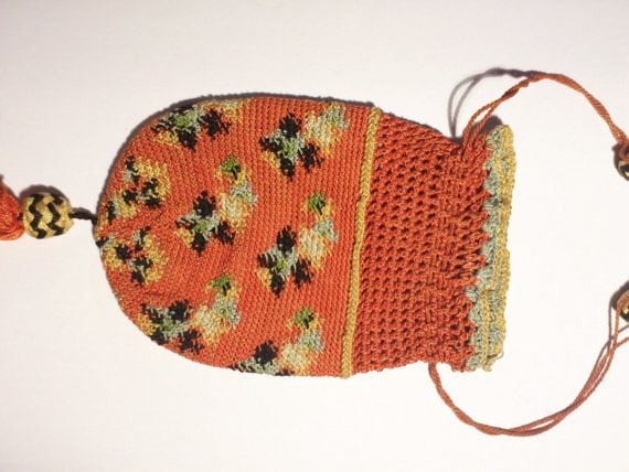 SALE Antique coin purse/Edwardian tiny crochetpurse/ drawstring coin purse/vintage coin purse/orange cotton crochet/vintage child purse/doll