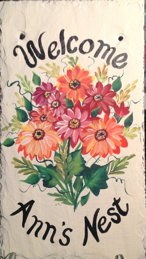 Hand Painted Slate Welcome Sign Gerbera Daisies By