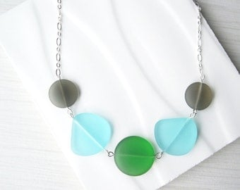 Grey Glass Necklace, Seaglass Look Jewelry, Green, Eco Friendly, Blue, Nickel Free Sterling Silver Option, Recycled, Multicolored