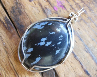 Stunning Natural Snowflake Obsidian Necklace Obsidian Pendant  Wire wrapped in Sterling Silver