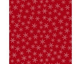 Snowflakes on Red - Alpine from Wilmington Prints - Full or Half Yard Snowflake Toss Red