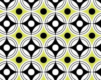 Tempo by Benartex - Full or Half Yard Black, Lime, White Geometric Circles Modern
