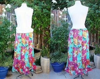 1990's Aqua Skirt Maxi Floral Size Large Vintage Retro 90s Turquoise Pinks Oranges Whites Gored Chiffon Like Hipster Boho