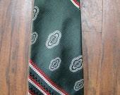 ON SALE Vintage 60s / Hand Made / Italian / Dark Green / Paisley / Striped / GINO Pompeii / Neck Tie