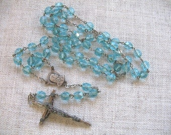 Vintage Rosary Beads ~ Pale Blue Crystal Glass Beads