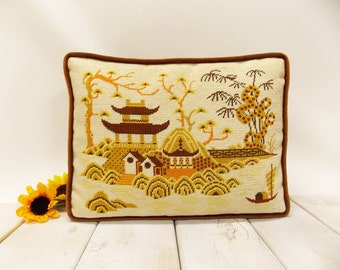 Vintage Handmade Needlepoint Pillow--- Japanese Landscape with Pagoda, Trees and a Snake Like Serpent