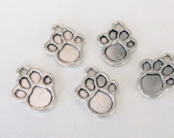 Dog Paw Charms - Silver Paw Beads - Canine Paw Charms - Bangle Bracelet Pendant - Pet Dog Charms (12) Pcs - Pet Memorial - Diy Findings