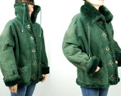 Green Leather Jacket || Cozy Faux Shearling Lining || Wilson's Leather