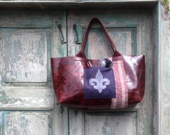 Handmade Red Leather French Market Bag with Purple Custom Embroidered Fleur de Lis Exterior Pocket