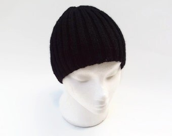 Mens beanie hat vegan friendly hand knitted hat