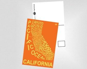 California County Map Postcard