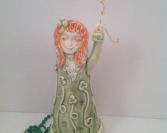 Irish Lass Vase/vase/irish art/bud vase/irish pottery/irish lady/lady vase/ready to ship
