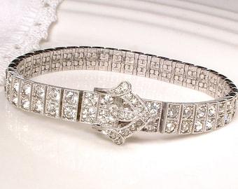 Art Deco Crystal STERLING Silver Buckle Bracelet, DIAMONBAR Pave Rhinestone 1920s Bridal Bracelet, Vintage Gatsby Wedding 1920s Edwardian