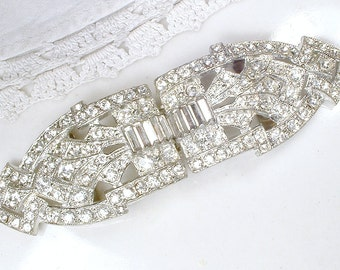 ANTIQUE 1930s Sash Buckle OR Bridal Hair Comb, Original Art Deco Rhinestone Vintage Wedding Dress Belt/Great Gatsby Hair Accessory Hairpiece