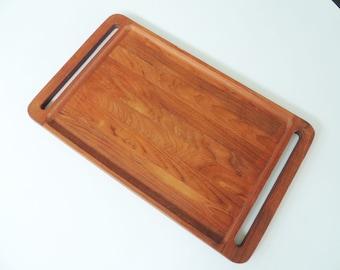 Danish teak Dansk serving tray, large heavy, mid century