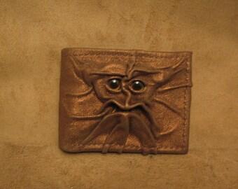 Grichels leather bi-fold wallet - metallic bronze with golden brown fish eyes