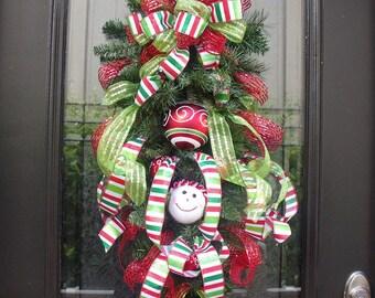 Snowman Christmas Wreath, Christmas Swag, Christmas Wreath Swag, Whimsy Wishes, Snowman Door Decor