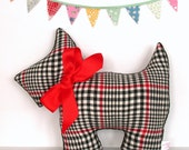 Scottie Dog Pillow / HOLIDAY SALE / 20% DISCOUNT /Scottish Terrier / Vintage Flannel Plaid / Black, White and Red / Dog Pillow