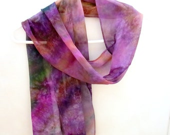 Hand dyed Silk Scarf,  Silk Chiffon Scarf, Gift for Her, Ready to ship, 60 x 10 inches, SallyAnnesSilks on Etsy S108