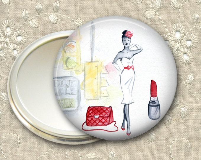 fashionista pocket mirror,  original art hand mirror, mirror for purse, gift for her,  bridesmaid gift, stocking stuffer  MIR-FASH-4