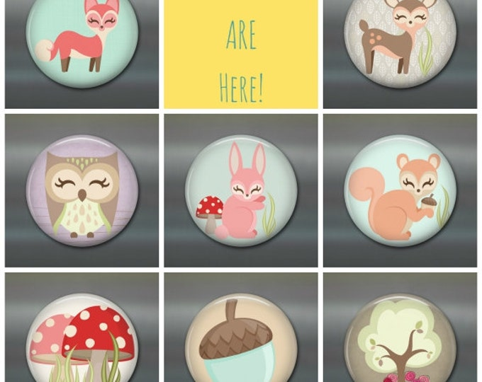Woodland animal fridge magnets, cute fridge magnets, woodland creatures decor, set of magnets, cute animals kitchen decor, gift for toddler