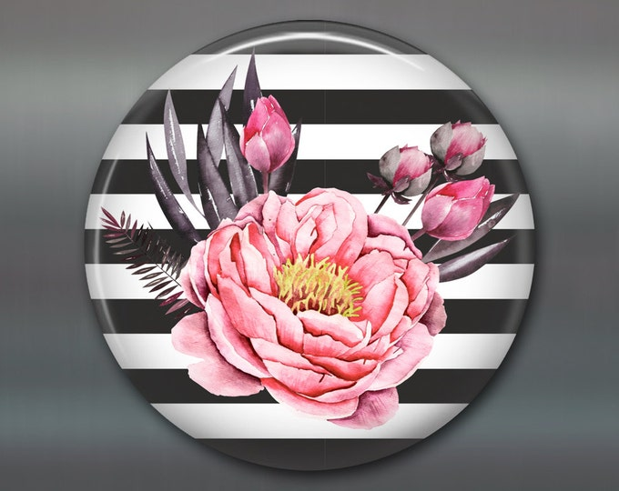 pink peonies flower decorations, gardening gift ideas, floral art gifts for gardeners, housewarming gifts for gardeners fridge magnet MA-380