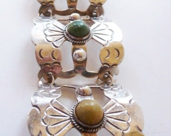 Vintage Mexican sterling silver panel cuff   agate bracelet   unsigned   pre 1948