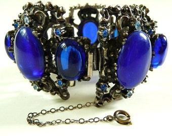 Bold Rennaisance Revival Selro bracelet ~ cobalt blue ~ unsigned ~ large