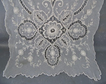 Vintage French Lace Dresser Scarf, Exquisite, netting, embroidery, ivory, cream