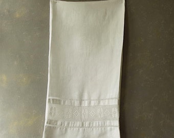 Vintage Guest towel, Cotton, white, damask, crochet