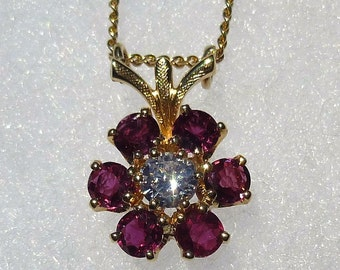 Vintage 18KT And 14KT Yellow Gold Ruby And Diamond Necklace By Jabel Free Shipping