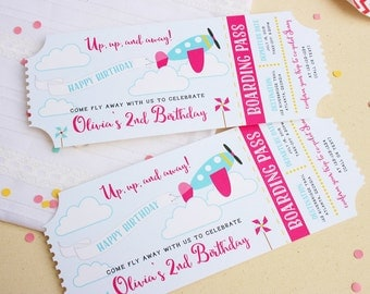 Airplane Birthday Invitation - Plane Ticket Invitations - Ticket Invitations - Girls Birthday Invitations