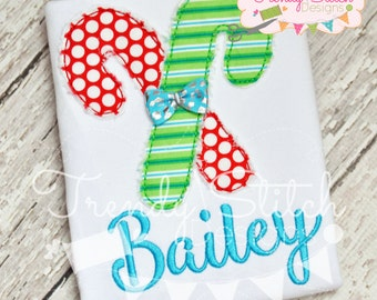 Candy Cane Raggy Applique Design Machine Embroidery Design INSTANT DOWNLOAD Bean Stitch
