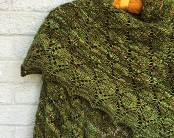 Triangular Woodland Leaf Shawl, Hand-knit Madelintosh Merino Superwash Wool