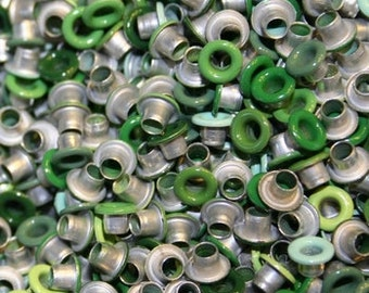 Green Eyelets, 1/8 inch, Irish Green, Scrapbooking, 200 Eyelets, Round Metal, Eyelets, Green Round, Scrap Booking, 1/8 Green Eyelet