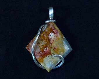 PAINT SPLASHED on Rocky Butte Jasper in Cold Forged Sterling Silver Pendant