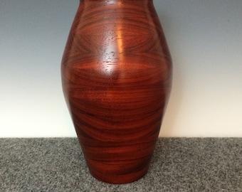 Wood Vase~Urn~Wood Urn~Handmade Vase~Wood Art~ Tall Vase~Paduak Wood Urn or Vase~Sculptured Wood Vase~Flower Vase