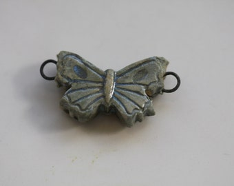 Butterfly pendant connector Ceramic butterfly  Pendant handmade clay butterfly art bead artisan jewelry supplies potterygirl1