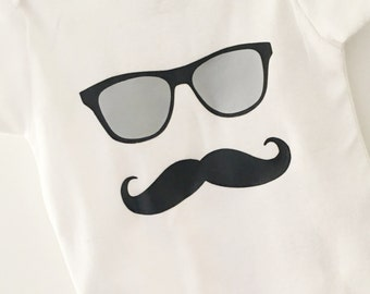 Sunglasses Mustache Bodysuit, Mustache Bodysuit, Baby Boy Bodysuit, Sunglasses Bodysuit