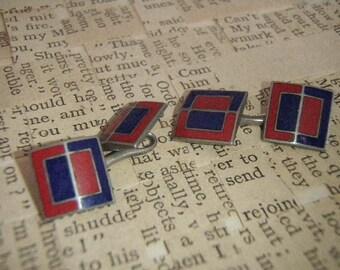 vintage cufflinks Mondrain colour block