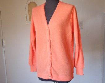 Vintage Cardigan Sweater, Orange Sweater, Vegan Friendly Acrylic Knit Golf Sweater, Peach, Coral, Women's Small to Medium