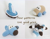 Crochet patterns amigurumi vehicles stuffed toys - car, airplane, sailboat and helicopter - pdf tutorials - US English