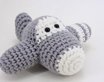 Amigurumi airplane rattle crochet baby toy - organic cotton - gray and white
