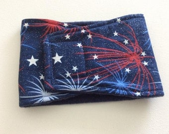 Dog Diaper - Male Dog Belly Band - Belly Wrap - Patriotic Fireworks - Available in all Sizes